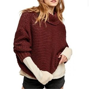 Free People My Only Sunshine Chunky Knit Sweater in Winter Berry size XL